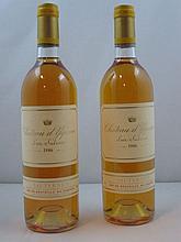 2 bouteilles CHÂTEAU D'YQUEM 1986 1er Cru Supérieur Sauternes