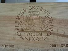 12 bouteilles CHÂTEAU D'YQUEM 2001 1er Cru Supérieur Sauternes Caisse bois d'origine