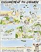 REISER (1941-1983)  RAISONNEMENT PAR L'ABSURDE Encre de Chine et aquarelle de couleur pour un gag en 1 planche de 4 strips et un...
