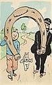 HERGÉ Georges Remi dit (1907-1983) TINTIN ET HADDOCK PORTANT UN FER À CHEVAL Encre de Chine, mine de plomb et aquarelle de coule...
