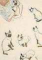 HERGÉ Georges Remi dit (1907-1983) GERMAINE ET THAÏKE Encre et aquarelle de couleur pour une illustration réalisée vers 1948, re...