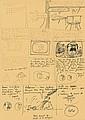 HERGÉ Georges Remi dit (1907-1983) TINTIN ET LES PICAROS Encre bleue et mine de plomb sur papier ocre pour le crayonné préparato...