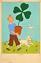 HERGÉ Georges Remi dit (1907-1983) CARTE FESTIVE Gouache de couleur sur fond d'impression en gris pour le bleu de coloriage de l...