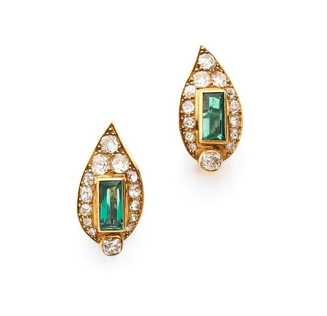 A PAIR OF EMERALD, DIAMOND, WHITE AND YELLOW GOLD EAR PENDANTS, BY BOUCHERON