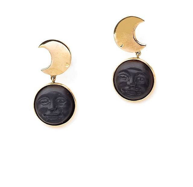 A PAIR OF 14K YELLOW GOLD AND JAIS MOON EAR PENDANTS