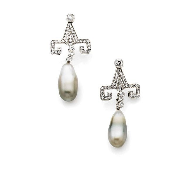 A PAIR OF DIAMOND, CULTURED PEARL, PLATINUM AND WHITE GOLD EARRINGS