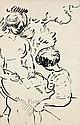 Louis VALTAT (Dieppe, 1869 - Paris, 1952) MERE ET ENFANT AU JARDIN OU LA LECON DE DESSIN, circa 1914 Dessin à l'encre sur papier