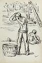 Maximilien LUCE (Paris, 1858 - Paris, 1941) LES DEBARDEURS SUR LES QUAIS DE SEINE A PARIS (ETUDE) Dessin à l'encre, lavis et mine de..