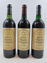 3 bouteilles 1 bt : CHÂTEAU GLORIA 1983 Saint Julien (légèrement bas, étiquette tachée)