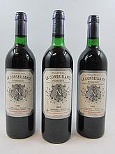 3 bouteilles 1 bt : CHÂTEAU LA CONSEILLANTE 1984 Pomerol (légèrement bas, étiquette sale)