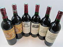 6 bouteilles 1 bt : CHÂTEAU L'EVANGILE 1987 Pomerol (base goulot, étiquette fanée)