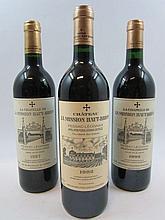 3 bouteilles 1 bt : CHÂTEAU LA MISSION HAUT BRION 1992 CC Pessac Léognan