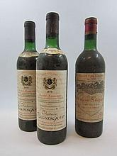 3 bouteilles 1 bt : CHÂTEAU CALON SEGUR 1967 3è GC Saint Estèphe (légèrement bas, étiquette très sale et tachée)