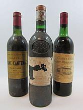 6 bouteilles 4 bts : CHÂTEAU PAPE CLEMENT 1975 CC Pessac Léognan (3 légèrement bas, capsules abimées, étiquettes très abimées et déchir