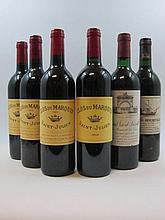 6 bouteilles 1 bt : CHÂTEAU LEOVILLE LAS CASES 1984 2è GC Saint Julien (base goulot, étiquette tachée et déchirée)