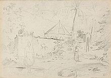 Camille PISSARRO 1830 - 1903 PAYSAGE DES ANTILLES - CIRCA 1852-1854 Crayon sur papier