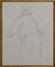 Camille PISSARRO 1830 - 1903 ETUDES DE PERSONNAGES VUS DE DOS (RECTO/VERSO) Crayon sur papier
