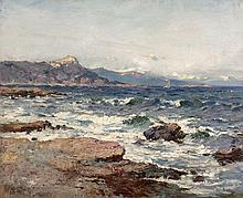 Jean-Baptiste OLIVE 1848 - 1936 BORD DE LA CORNICHE A MARSEILLE Huile sur toile