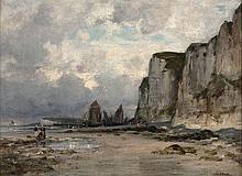 Jean-Baptiste OLIVE 1848 - 1936 DEPART POUR LA PÊCHE AUX PIEDS DES FALAISES D'ETRETAT Huile sur toile