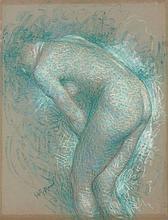 Lucien LEVY-DHURMER 1865 - 1953 FEMME NUE DE DOS Pastel sur papier vergé teinté