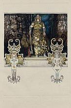Frantisek KUPKA 1871 - 1957 KLYTAIMNESTRA SEULE, ILLUSTRATION POUR LES ERINNYES DE LECONTE DE LISLE - Circa 1906-1908 Gouache, encre...