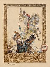 Frantisek KUPKA 1871 - 1957 GUERRIERS - Circa 1917-1919 Aquarelle et gouache sur fond de gravure sur carton