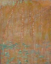 Lucien LEVY-DHURMER 1865 - 1953 ETANG AUX NENUPHARS Pastel sur carton
