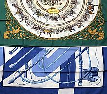 HERMES Paris, Deux carrés en soie imprimée, le premier à dominante blanche et verte, à décors de calèches et de cavaliers, titré