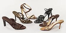 Lot de sandales à talons : Trois paires de Jimmy CHOO, deux paires de VALENTINO, une paire de RALPH LAUREN. T39 et 39.5. Patine d'us..