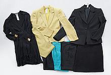 GIANNI VERSACE, Tailleur pantalon anis, T42 it ; Tailleur pantalon noir, T40 it ; Jupe en laine tricotée noire, T40 it ; Robe cache...