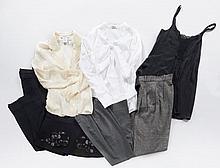 MIU MIU, Jupe trapèze en laine noir, T40 ; Top à bretelles en coton noir, T38 ;  Chemisier en coton blanc, T40 ; Pantalon noir, T40....