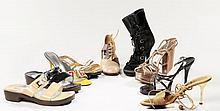DOLCE GABBANA, Lot de neuf paires de chaussures : une paire de mules verni noir, une paire de mules à talons jaunes, une paire d'esc..