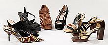 Lot de huit paires de chaussures : deux paires de sandales SERGIO ROSSI (P38.5 et 39) ; deux paires de chaussures MIU MIU dont une p...