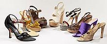 PRADA, Lot de neuf paires de chaussures : une paire d'escarpins rouge et beige, une paire de compensés façon reptile, une paire de s..