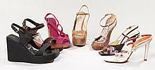 PRADA, Lot de sept paires de chaussures : une paire de compensés en daim marron, une paire de sandales rose, une paire de compensés...