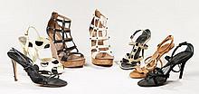 VALENTINO, Lot de sept paires de chaussures : une paire de compensés en cuir beige, une paire de compensés en cuir noir, une paire d...