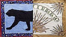 HERMES Paris made in france Lot de deux draps de bain en coton. Le premier drap de bain comporte un motif de panthère noire sur fo...