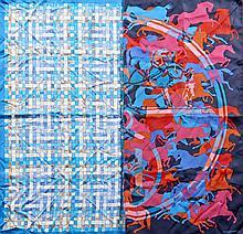 HERMES Paris, Deux carrés en soie imprimée: