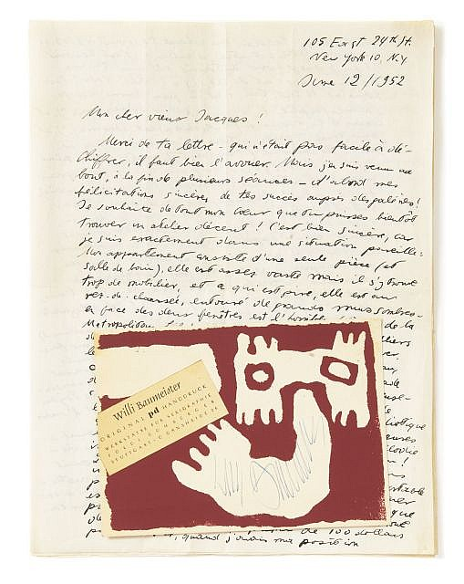 [BAUHAUS] Theodor Lux FEININGER, Willi BAUMEISTER  2 l.a.s. à Jacques Germain