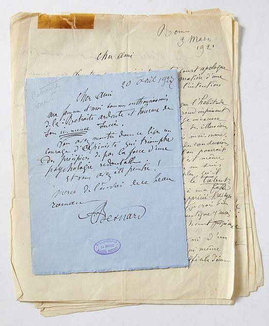 Albert BESNARD  Manuscrit et lettres