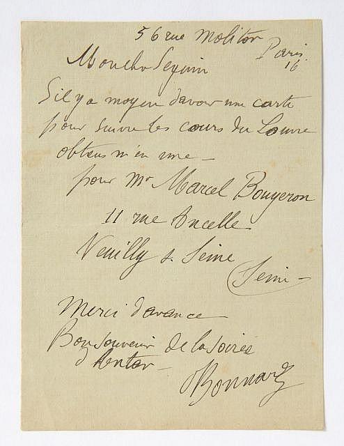 Pierre BONNARD L.a.s. à F. Seguin, au ministère des Beaux-arts 1 p. in-12. Paris, rue Molitor. ...