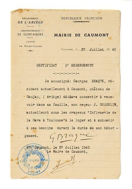 Georges BRAQUE  Certificat d'hébergement, signé