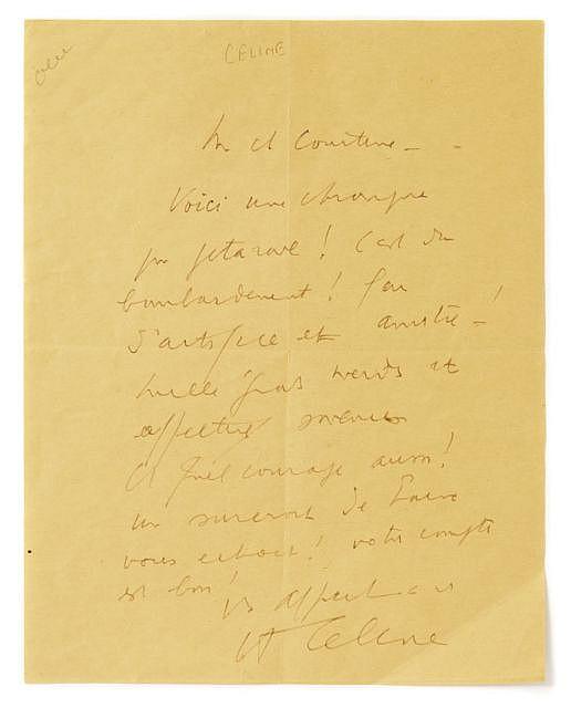 Louis-Ferdinand CELINE  L.a.s. à Robert Jullien-Courtine, [1944]