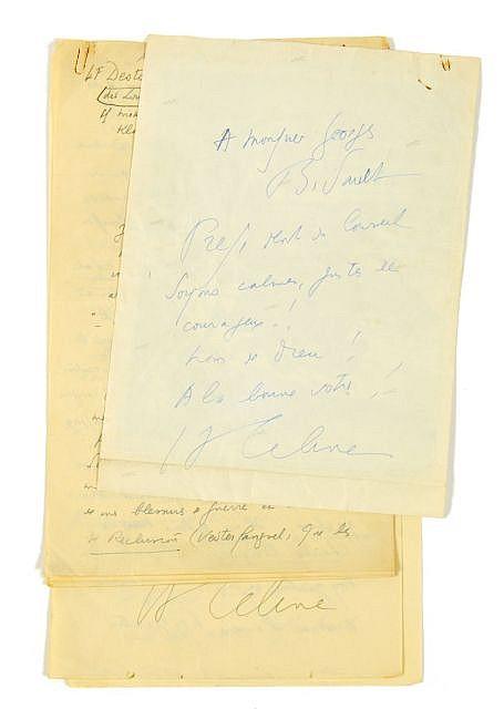 Louis-Ferdinand CELINE  2 l.a.s. à Georges Bidault, 1950