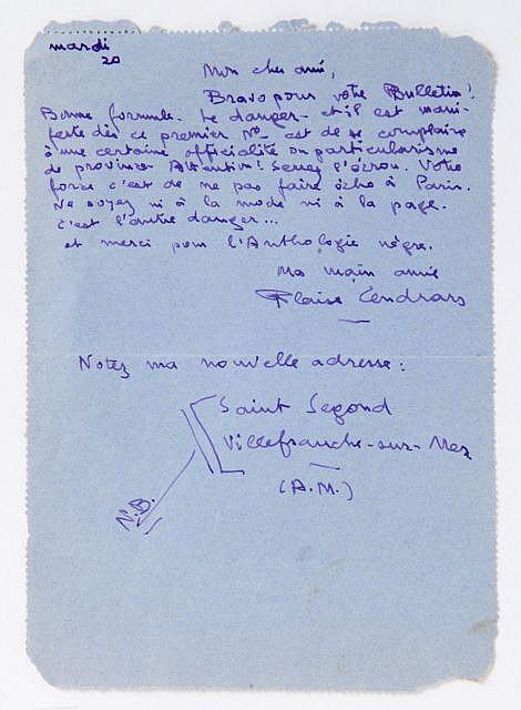 Blaise CENDRARS Carte-lettre à Robert de la Croix, 1948 1 p. in-12. Saint Segond, Villefranche-...