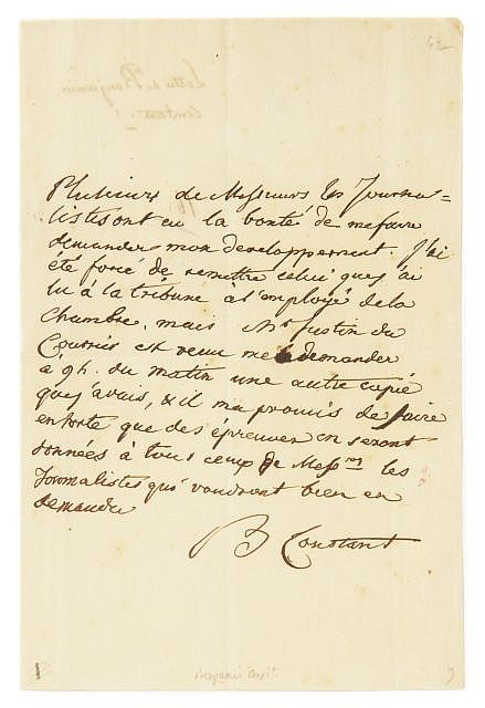 Benjamin CONSTANT  L.a.s., sur un discours à la chambre, vers 1828