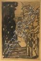 Maxime DETHOMAS Dans le parc (esquisse) Dessin au fusain et lavis d'encre de chine sur papier. ...