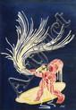 [Jacques SAIGNIER] JAC Enfant sur fond bleu Projet original d'affiche, 92 x 66 cm. Gouache. Sig...