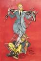 [Jacques SAIGNIER] JAC Le rêve du clochard Projet original d'affiche, 90,5 x 65 cm. Gouache, fu...