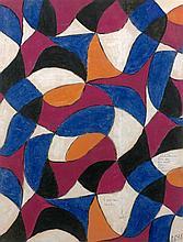 Serge POLIAKOFF (1900 - 1969) PROJET POUR TISSU - 1946 Gouache sur papier